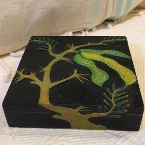 Soapstone jewelry trinket box by artisans